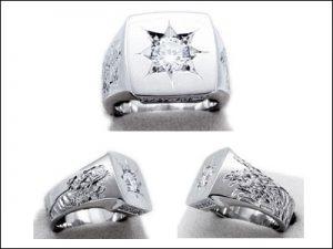 400ダイヤ五光留彫金印台2